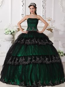 Dark Green Strapless Quinceanera Gown Dresses with Appliques in Denton