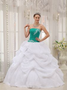 White and Turquoise Strapless Quinceanera Dress with Appliques in Nashville