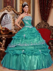 Strapless Floor-length Organza Turquoise Quince Dress with Appliques in Clemson