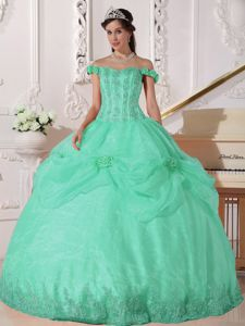 Off the Shoulder Appliqued Hand Flowery Quinceanera Dress in Apple Green