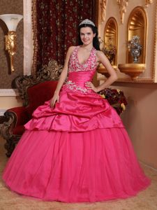 Hot Pink Halter Taffeta Appliqued Quinceanera Dress with Pick-ups in Malvern