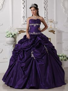 Strapless Taffeta Appliqued Quinceanera Gown Dress in Purple in Carlisle