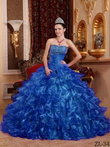 Strapless Organza Quinceanera Dress in Blue with Beading in Grants Pass OR
