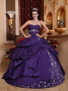 Purple Sweetheart Taffeta Quinceanera Dress with Embroidery in Ashland OR