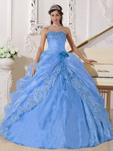 Strapless Organza Embroidered Quinceanera Dress with Beading in Light Blue