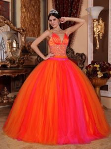 V-neck Taffeta and Tulle Quinceanera Gown Dress with Beading in Malvern