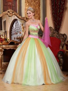 Multi-colored Sweetheart Floor-length Tulle Beaded Quinceanera Dress in Carlisle