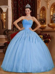 Light Blue Sweetheart Tulle Beaded Quinceanera Dress in Harrisburg PA