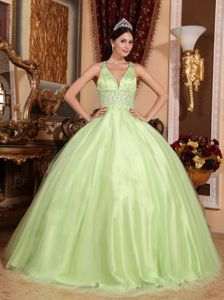 V-neck Tulle and Taffeta Beaded Quinceanera Dress in Yellow Green in Carlisle