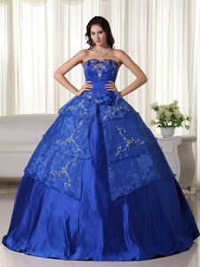 Strapless Organza Embroidered Quinceanera Dress in Royal Blue in Katy