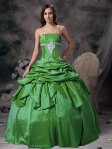 Strapless Taffeta Appliqued Sweet Sixteen Dresses in Green in Lewisville TX