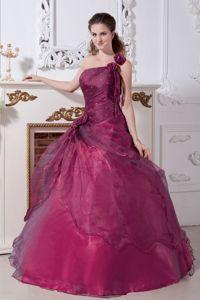 Beaded One Shoulder Floor-length Purple Quinceanera Dresses in Kerrville TX