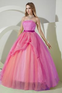 Pink Strapless Floor-length Organza Beaded Sweet 15 Dresses with Embroidery in Irving