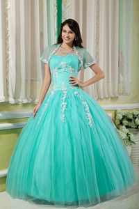 Turquoise Sweetheart Floor-length Tulle Appliqued Quinceanera Dress in Austin