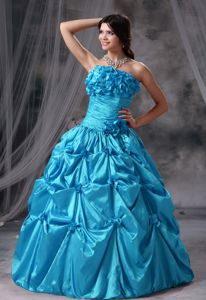 Hand Flowery Ruched Aqua Blue Strapless Quinceanera Dress with Pick-ups