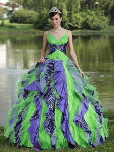 Organza Straps Beaded Colorful Quinceanera Gown Dresses in Nashville TN