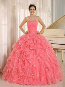Ruffled and Beaded Red Custom Made Quinceanera Dress in Charleston SC