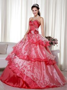 Red Beaded Quinceanera Gown Dresses with Hand Flower in Galveston TX