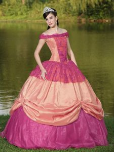 Colorful Off the Shoulder Quinceanera Dress with Appliques in Longview TX