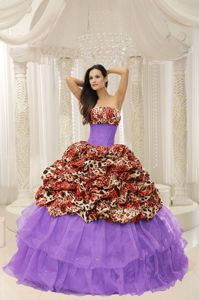 Organza Leopard Quinceanera Gown Dresses with Beading in Longview TX