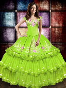 Ball Gowns 15th Birthday Dress Yellow Green Off The Shoulder Taffeta Sleeveless Floor Length Lace Up