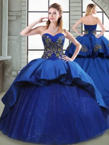 New Style Blue Quinceanera Dress Taffeta Court Train Sleeveless Beading and Appliques and Embroidery