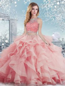 Baby Pink Satin Clasp Handle Sweet 16 Dress Sleeveless Floor Length Beading and Ruffles