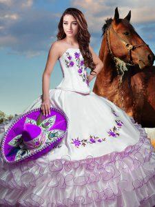 Floor Length White Sweet 16 Dresses Strapless Sleeveless Lace Up