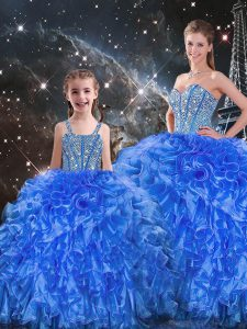 f78bc1e07fe Royal Blue 15th Birthday Dress Military Ball and Sweet 16 and Quinceanera  with Beading and Ruffles