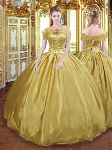 High Quality Gold Ball Gowns Off The Shoulder Sleeveless Tulle Floor Length Lace Up Beading and Appliques and Hand Made Flower Sweet 16 Dress