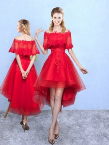 Colorful Wine Red A-line Appliques Damas Dress Lace Up Organza Half Sleeves High Low