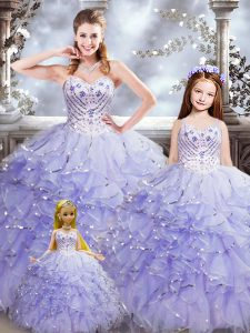 Stunning Floor Length Lace Up Ball Gown Prom Dress Lavender for Military Ball and Sweet 16 and Quinceanera with Beading and Ruffles