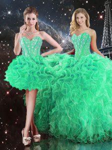 Artistic Sweetheart Sleeveless Sweet 16 Dresses Floor Length Beading and Ruffles Green Organza