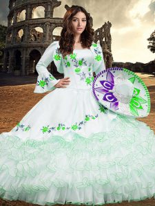 White Lace Up Square Embroidery and Ruffled Layers Quince Ball Gowns Organza Long Sleeves