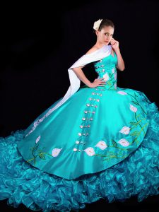 Sophisticated Aqua Blue Lace Up 15th Birthday Dress Embroidery and Ruffles Sleeveless Brush Train