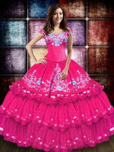 Sleeveless Embroidery and Ruffled Layers Lace Up Sweet 16 Quinceanera Dress