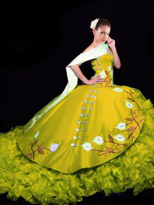 Beautiful Gold 15 Quinceanera Dress Military Ball and Sweet 16 and Quinceanera with Embroidery and Ruffles Sweetheart Sleeveless Brush Train Lace Up