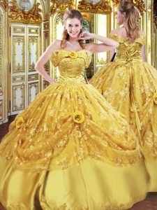 Gold Ball Gowns Beading and Appliques and Hand Made Flower Sweet 16 Dress Lace Up Tulle Sleeveless Floor Length