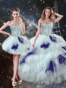 Admirable Tulle Sweetheart Sleeveless Lace Up Beading and Ruffled Layers and Sequins Sweet 16 Quinceanera Dress in Multi-color