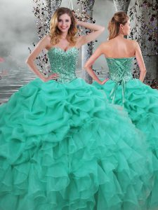 Fancy Floor Length Ball Gowns Sleeveless Turquoise Sweet 16 Dresses Lace Up
