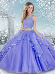 Sleeveless Clasp Handle Floor Length Beading and Lace Quinceanera Gown