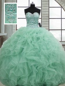 Apple Green Sweetheart Neckline Beading and Ruffles Quince Ball Gowns Sleeveless Lace Up
