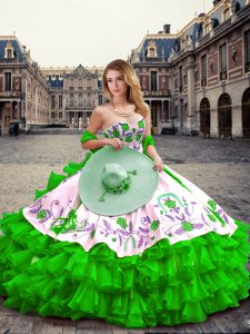 Wonderful Green Ball Gowns Embroidery and Ruffled Layers Sweet 16 Dresses Lace Up Organza and Taffeta Sleeveless Floor Length