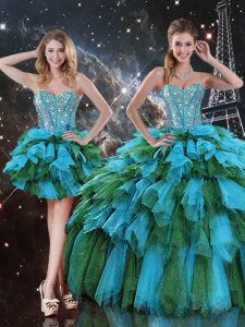 Artistic Floor Length Ball Gowns Sleeveless Multi-color Quinceanera Gown Lace Up