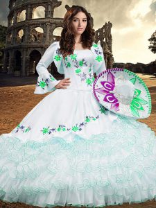 Long Sleeves Organza Floor Length Lace Up 15 Quinceanera Dress in White with Embroidery and Ruffled Layers