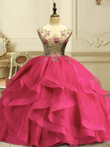 Fantastic Hot Pink Sleeveless Organza Lace Up 15th Birthday Dress for Military Ball and Sweet 16 and Quinceanera
