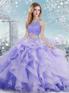 Scoop Sleeveless Ball Gown Prom Dress Floor Length Beading and Ruffles Lavender Organza