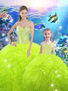 Stylish Yellow Green Organza Lace Up Quinceanera Dress Sleeveless Floor Length Beading and Ruffles