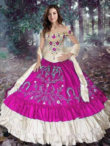 Charming Fuchsia Off The Shoulder Lace Up Embroidery and Ruffled Layers 15 Quinceanera Dress Sleeveless