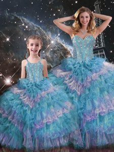 Multi-color Organza Lace Up Sweetheart Sleeveless Floor Length Vestidos de Quinceanera Beading and Ruffled Layers